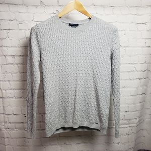 Tommy Hilfiger Gray Cable Knit Sweater y2k Basic